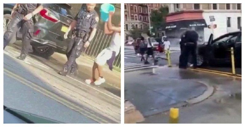 美國紐約市上周末受到熱浪襲擊,布魯克林與曼哈頓哈林區卻分別發生執勤員警遭到有心人士當眾潑水與嘲笑羞辱的事件。紐約市長白思豪指此事完全不能接受,市警局總警監莫納漢則要息事寧人的員警好好考慮去留。畫面翻攝:Twitter/NYScanner