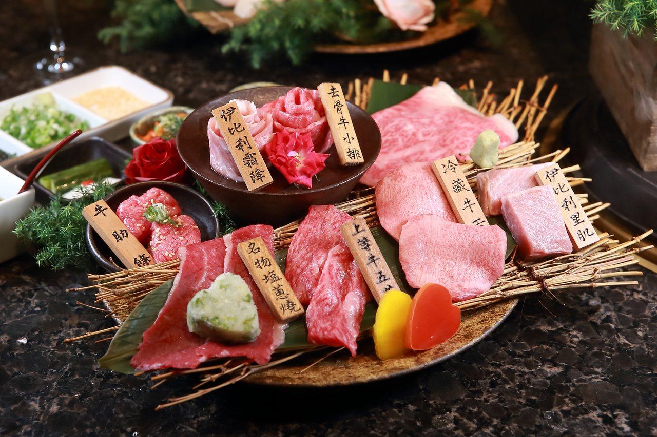 雙人和牛套餐中,內含使用A5日本和牛、MBS7-9+澳洲和牛、西班牙Bellot...