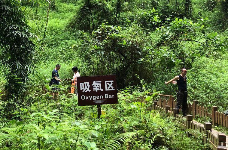 巴馬百魔洞景區,遊客們在「吸氧區」做運動。特派記者許依晨/攝影