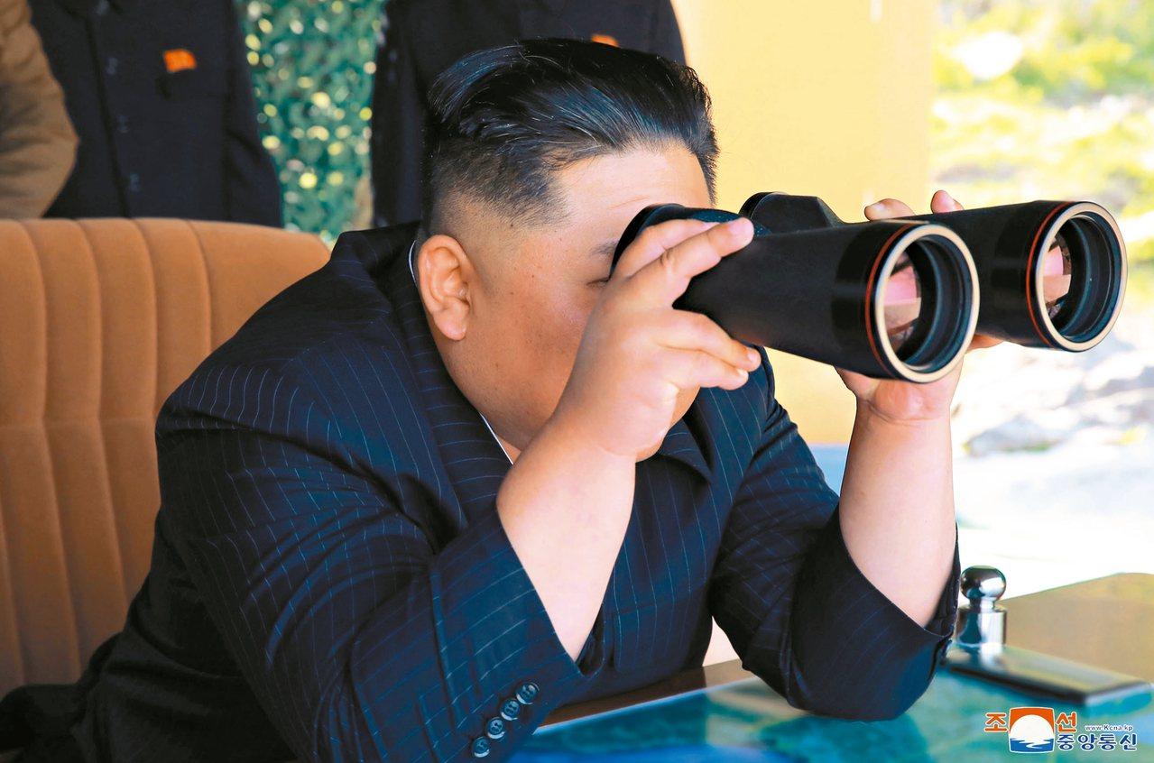 北韓中央通信社指出,金正恩16日再次指導新型武器試發射。圖為資料照。 美聯社