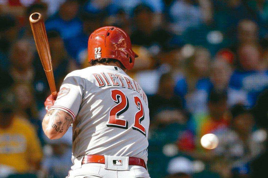 2019年6月,紅人二壘手Derek Dietrich在系列賽已6度挨觸身球。 ...