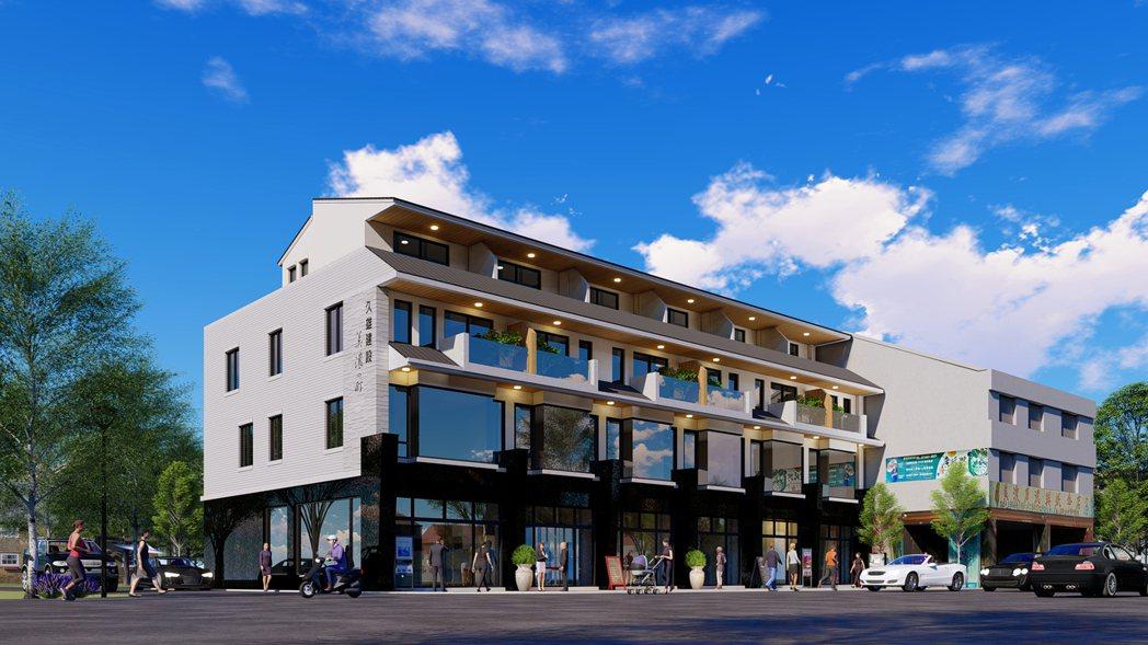 美濃中山路一段風格獨具的日式金店面,店面3D外觀透視圖僅供參考。圖片提供/久雄建...