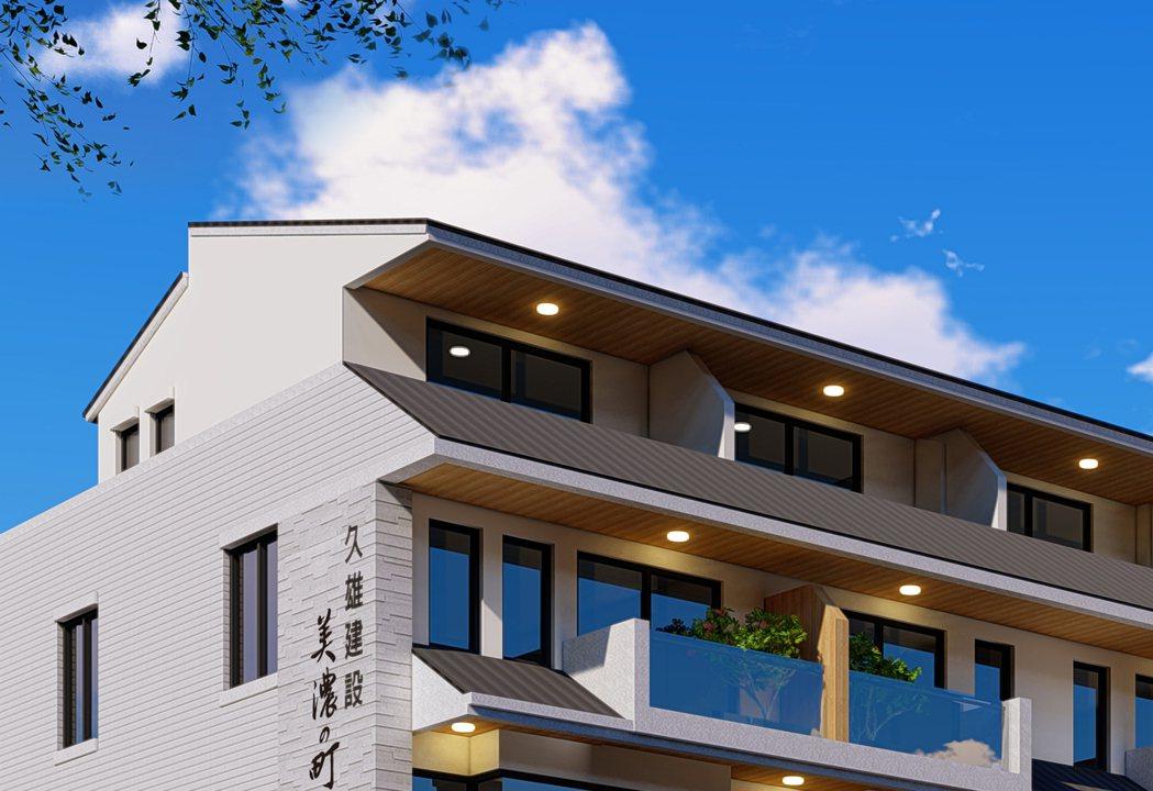 日式斜屋頂為店面增添耀眼建築風采,店面3D外觀透視圖僅供參考。圖片提供/久雄建設
