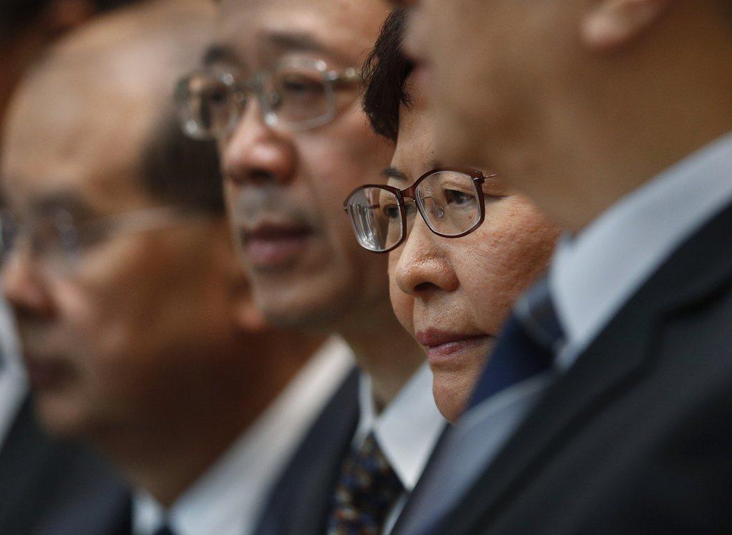 7月22日的記者會上,香港特首林鄭月娥拒絕將元朗暴力襲擊事件定調為「暴動」。 圖/美聯社
