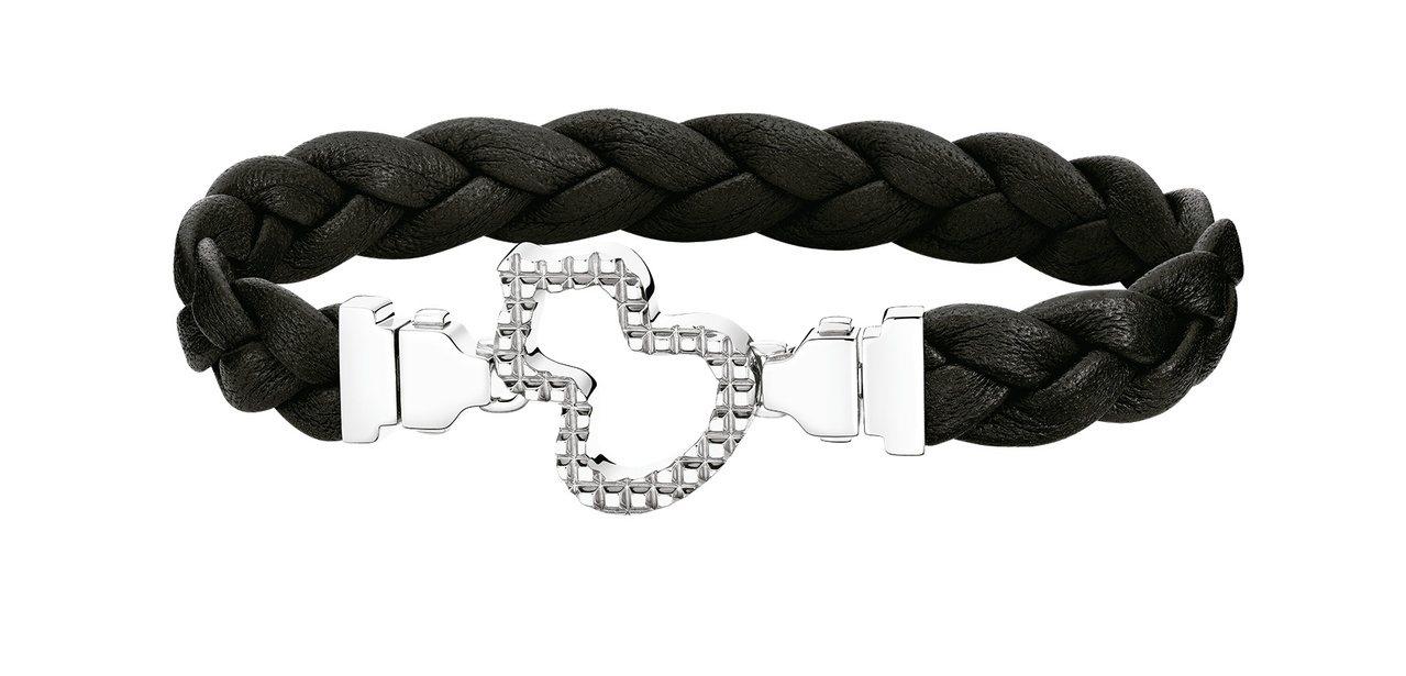 Qeelin Wulu黑色牛皮編織中性手環,67,600元。圖/Qeelin提供