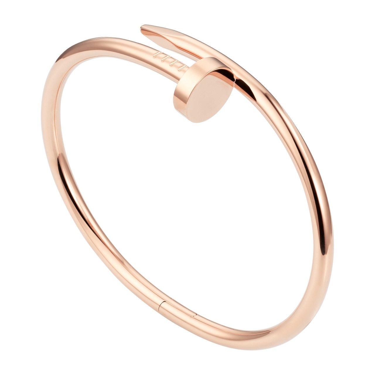 卡地亞Juste un Clou系列玫瑰金手環,20萬9,000元。圖/卡地亞提...