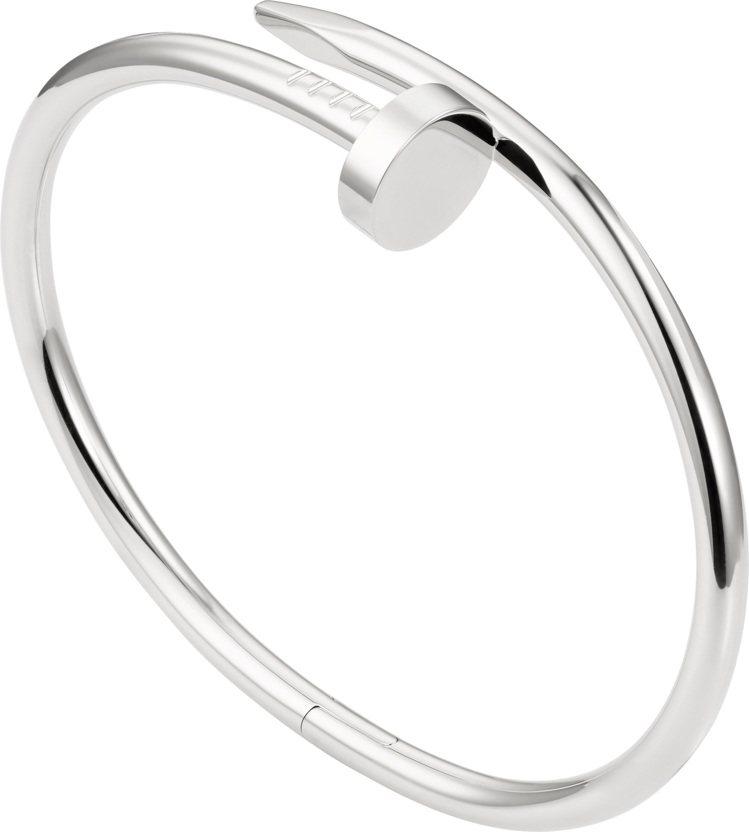 卡地亞Juste un Clou系列白K金手環,22萬4,000元。圖/卡地亞提...