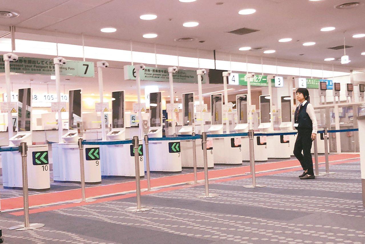 羽田機場新設有「臉部辨識閘門」,旅客只要花10秒「刷臉」就能出境。 圖/讀者提供