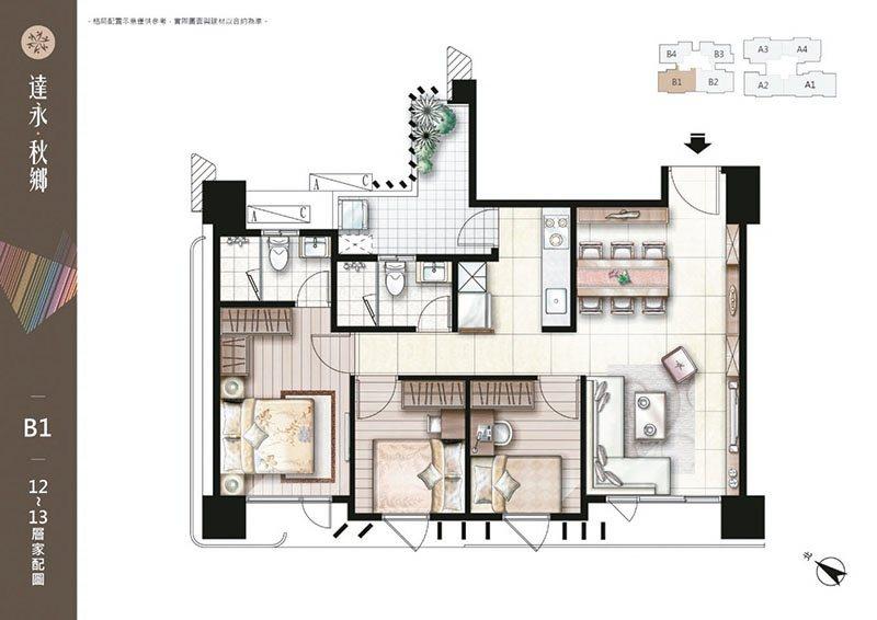 35坪B1戶 三房兩廳兩衛 衛浴都有開窗。 圖/達永秋鄉 提供