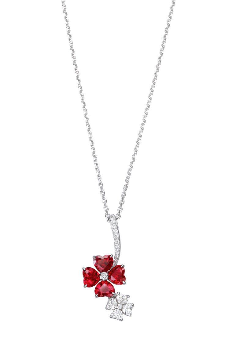 蕭邦For You紅寶石鑽石項鍊,82萬5,000元。圖/蕭邦提供