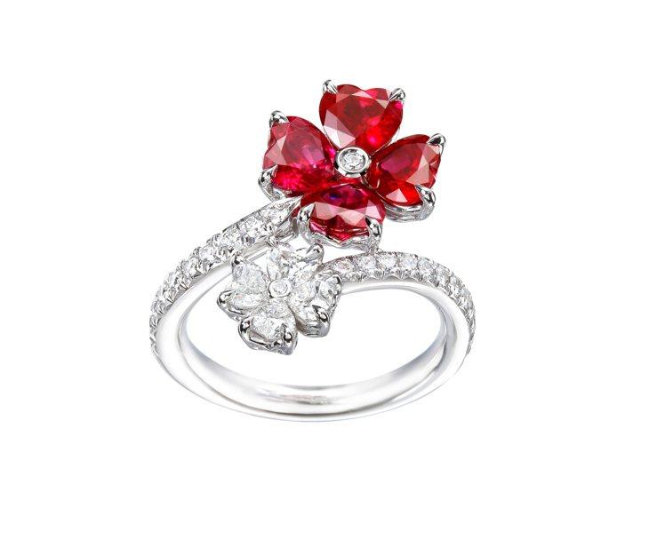 蕭邦For You紅寶石鑽石戒指,79萬7,000元。圖/蕭邦提供