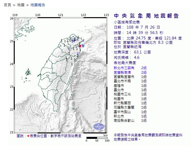 今天下午2時39分宜蘭縣近海發生規模4.6地震。圖/取自氣象局