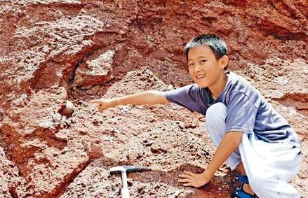 廣東河源市的一名九歲男童在河邊玩耍時,意外發現並辨認出一枚疑似恐龍蛋化石。(北京青年報)