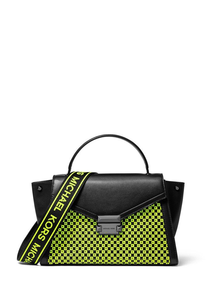 MMK Whitney霓虹黃文字圖騰肩包,售價17,900元。圖/MICHAEL...