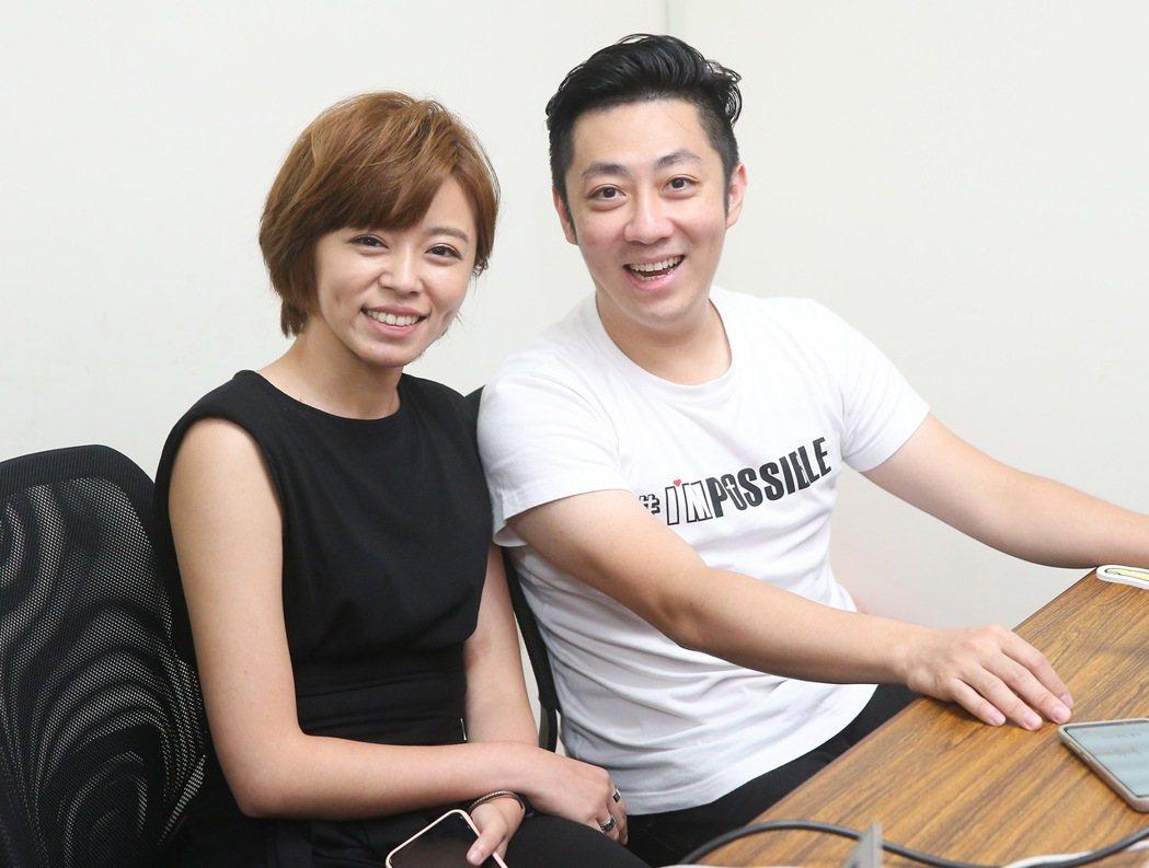 王瞳(左)、艾成合體放閃否認分手。記者余承翰/攝影