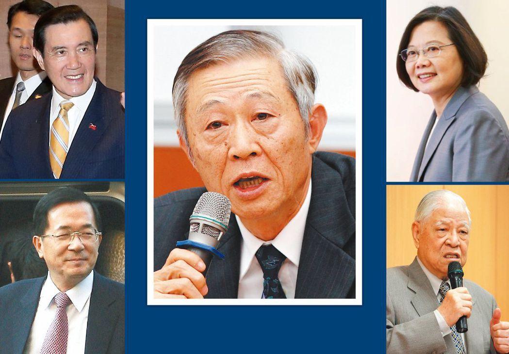 趙春山(中)是4任總統李登輝(右下)、陳水扁(左下)、馬英九(左上)與蔡英文(右...