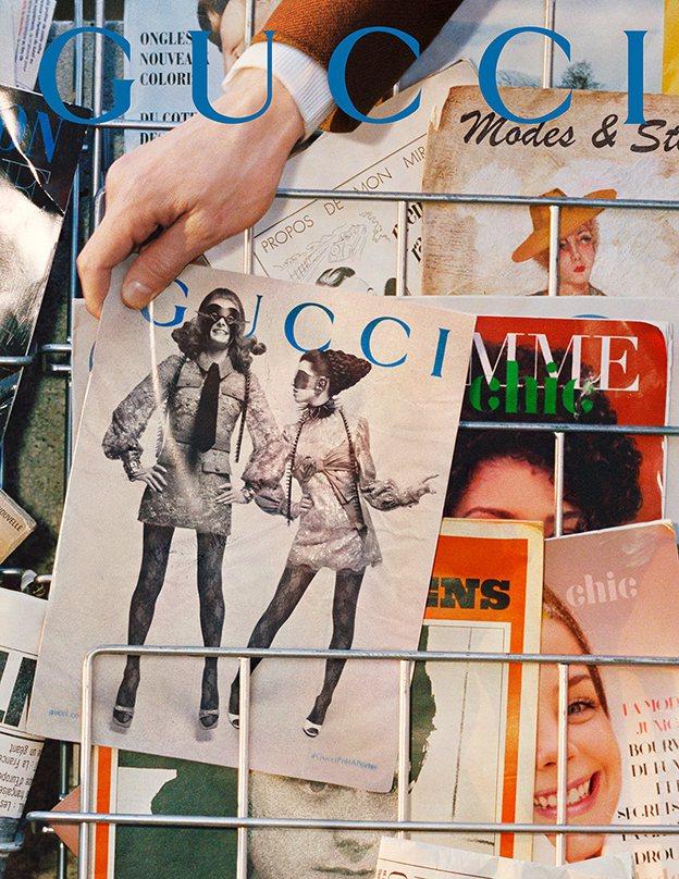 Gucci秋冬廣告將服裝型錄變成書報攤上的販售刊物,一如往常地展現出品牌搞怪有趣...