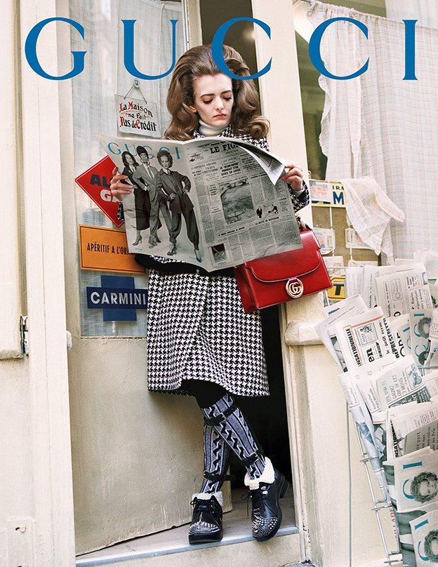 Gucci秋冬廣告同樣也將鏡頭帶到巴黎街頭。圖/Gucci提供