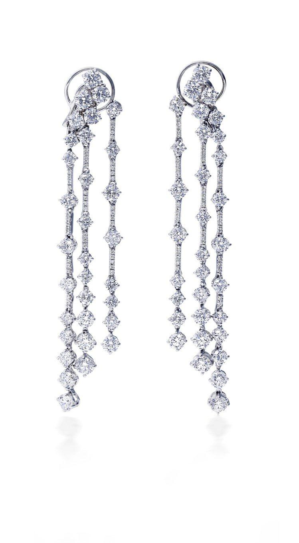 De Beers Arpeggia三層鑽石耳環,18K白金,鑽石總重9.16克拉...