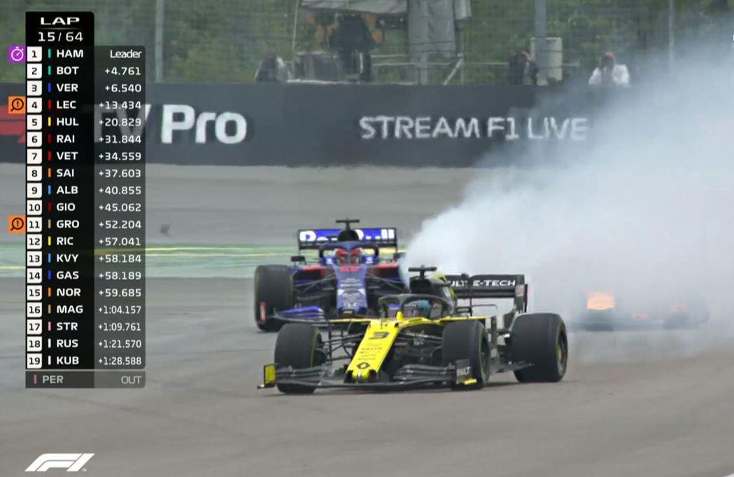 Ricciardo車子冒出來的是白煙,不是水花。 摘自F1