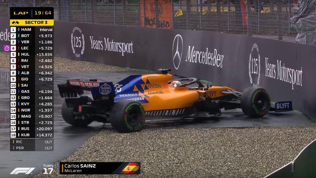 Carlos Sainz也一度打滑,幸好能成功完賽。 摘自F1
