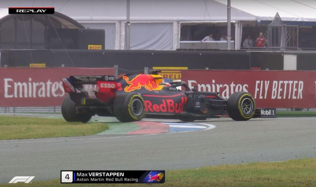 Verstappen也在換了光頭胎後出現打滑現象。 摘自F1