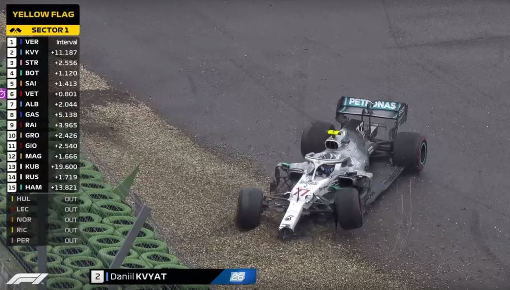 Bottas最後時刻也打滑退場,賓士全軍覆沒。 摘自F1