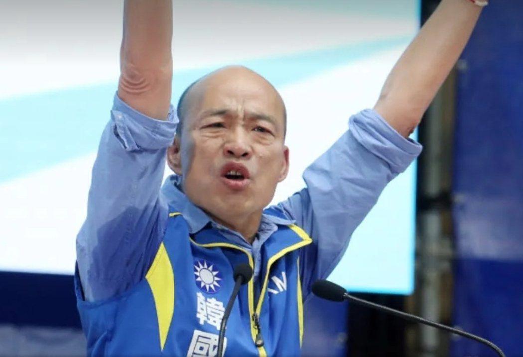 韓國瑜在全代會演說時腋下濕了一大片。本報資料照片
