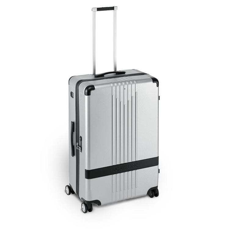 萬寶龍#MY4810系列銀色中型行李箱,28,800元。圖/Montblanc提...
