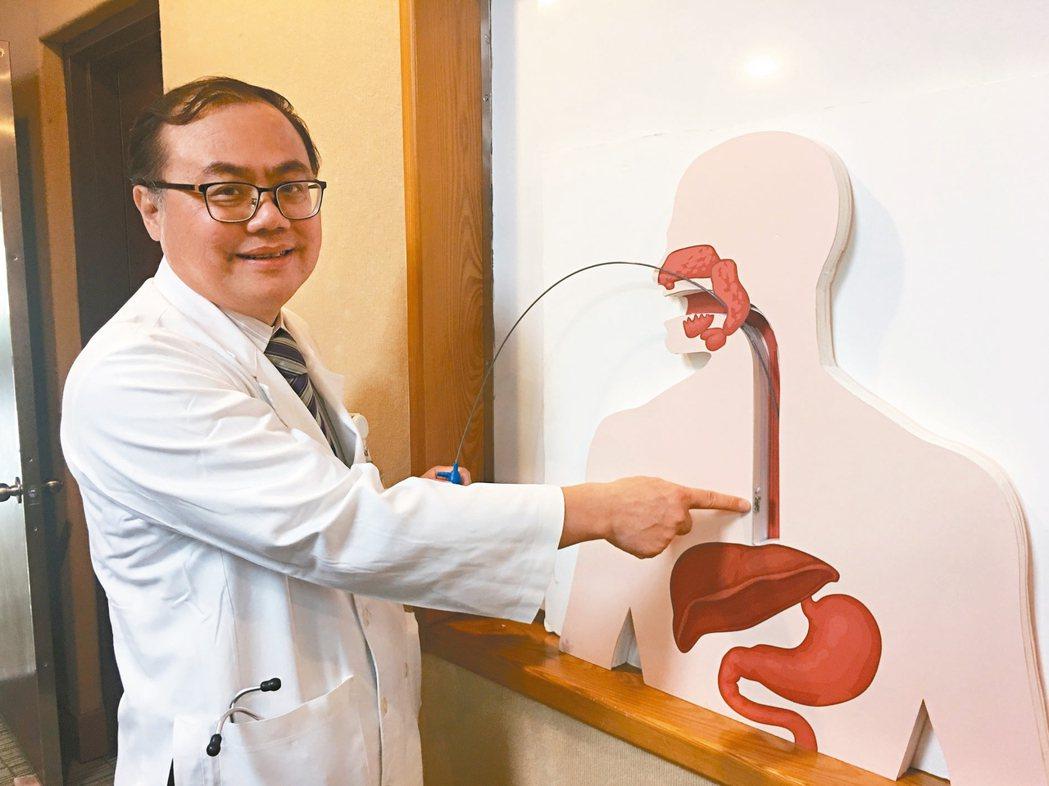 北榮內視鏡診斷暨治療中心主任盧俊良介紹胃酸逆流檢測方法,透過無線膠囊傳輸量測數據...