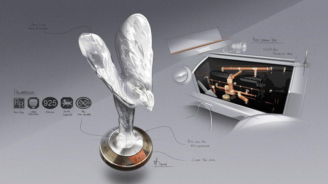 歡慶女神底座材質與Silver Ghost 引擎室內材質相呼應。 Rolls-R...