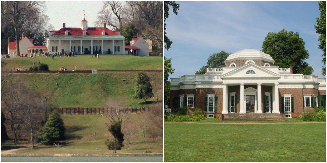 華盛頓與傑佛遜分別設計了各自的莊園:維農山莊(圖左)與蒙蒂塞洛(圖右)。兩者工整...