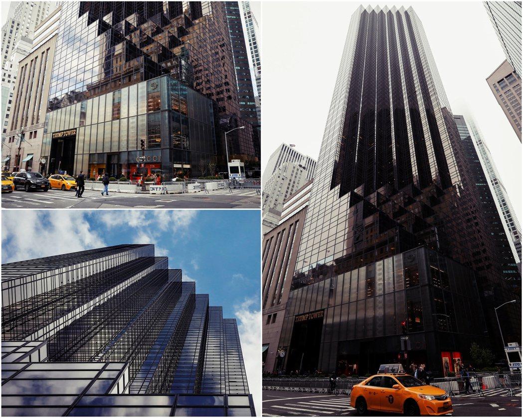紐約川普大廈挑高大廳的設計,使得大樓底層外觀呈現退縮式的階梯造型,大樓主體呈現的...