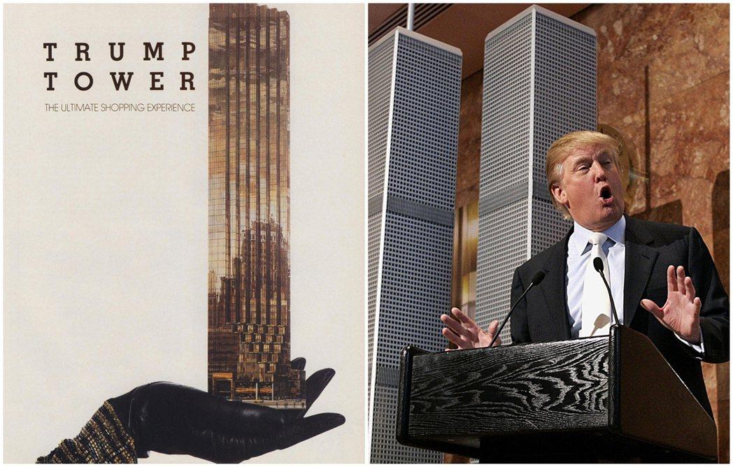 川普還真的把自己的大樓想像成珠寶。川普大廈剛落成時候,平面宣傳可見黑金色閃耀的玻...