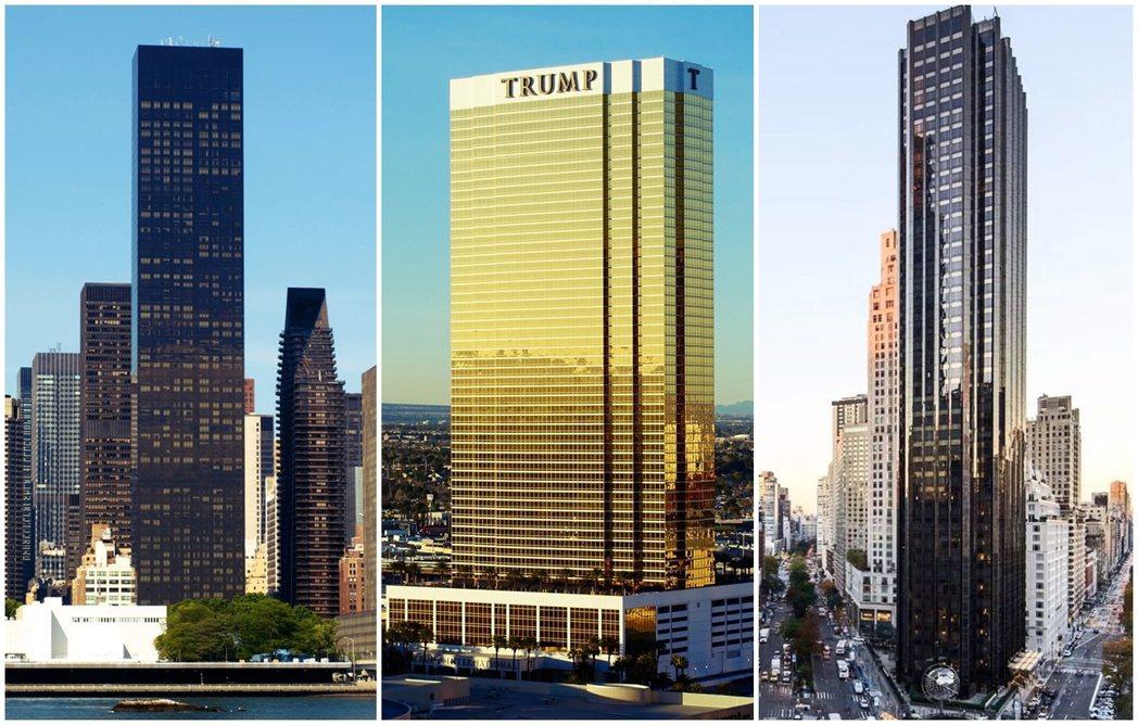從左至右為:「川普世界大廈」(Trump World Tower)、「川普國際酒...