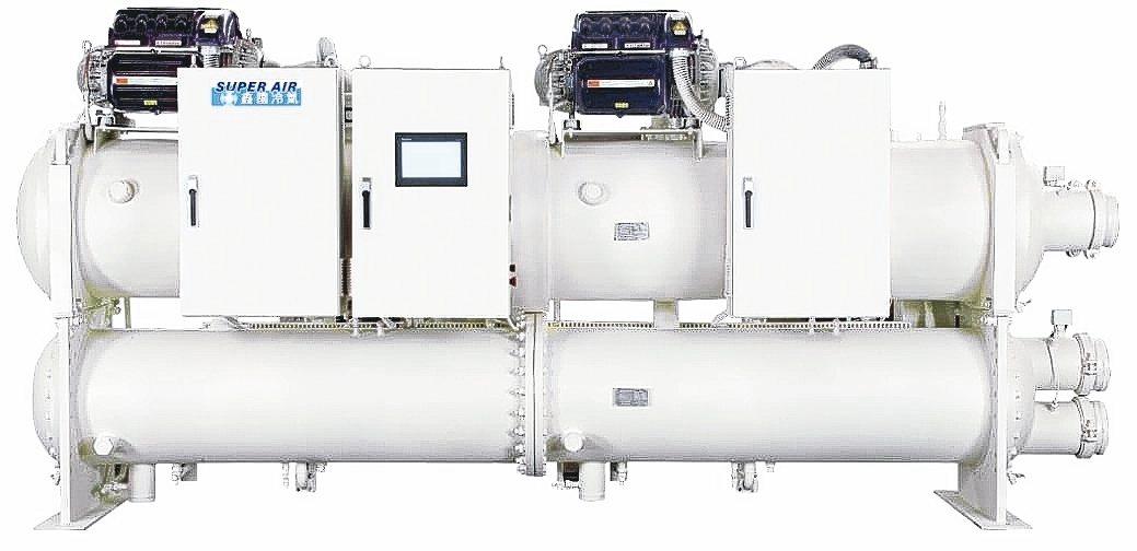鑫國空調公司推出磁浮無油變頻離心式冰水機組。 鑫國空調/提供