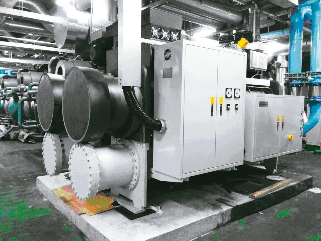 國產400冷凍噸-雙壓縮機的磁浮離心式冰水機組。 工研院/提供