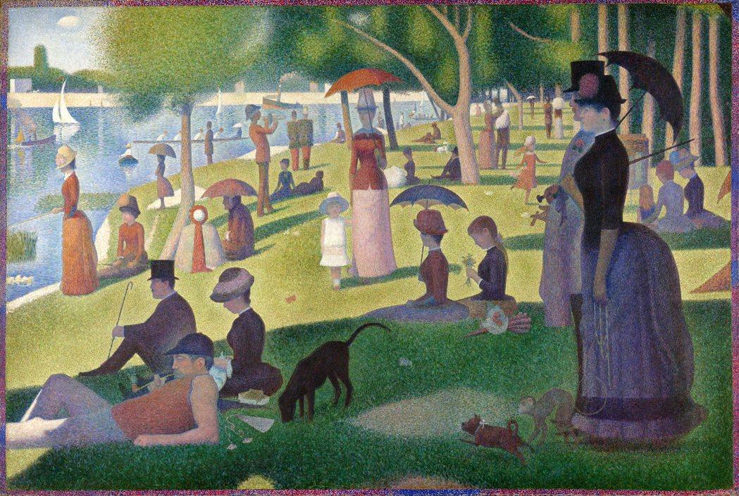 法國畫家喬治·修拉代表作《大碗島的星期天下午》。 圖片來源/維基百科