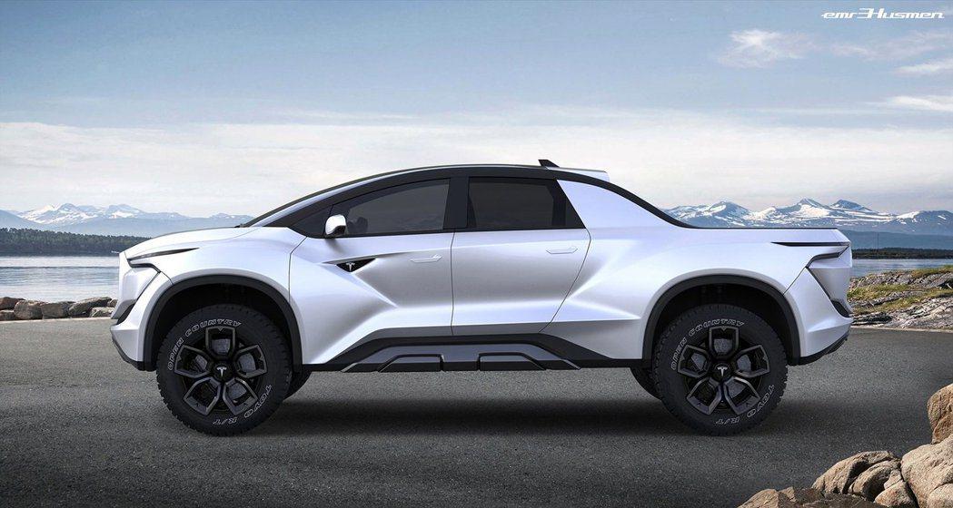 Tesla Pickup 預想圖。 摘自carscoops.com