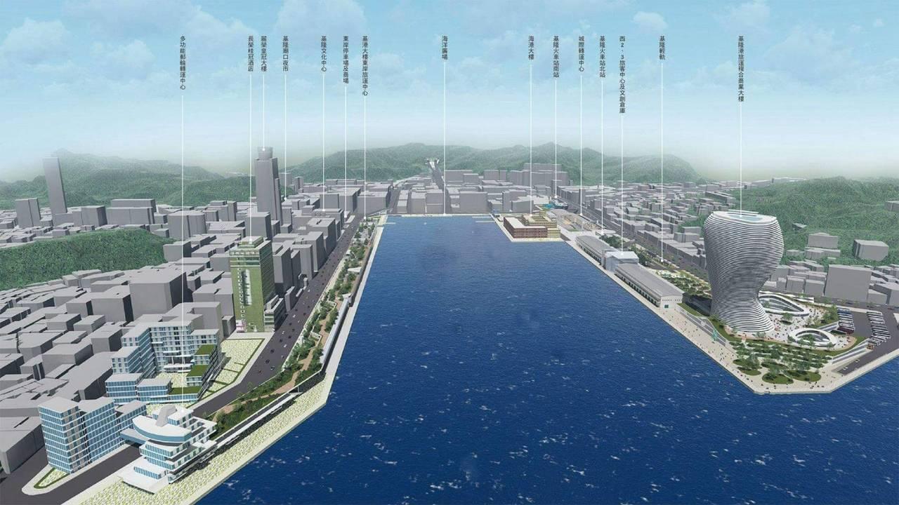 基隆港未來有旅運複合商業大樓、國門廣場等大型建設,內港將呈現新風貌。圖/基隆港務...