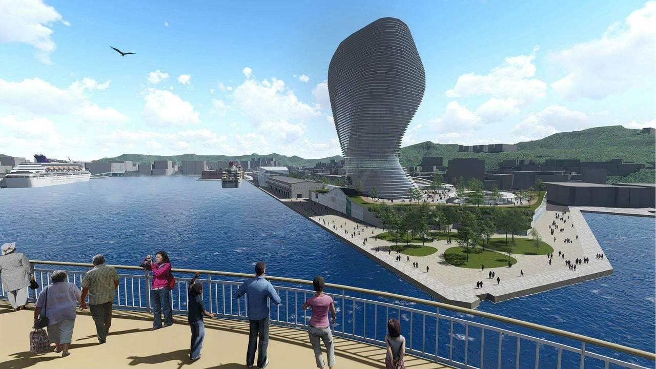 基隆港西4到6號碼頭「基隆港旅運複合商業大樓」,預計今年第4季公告招商;圖為模擬...