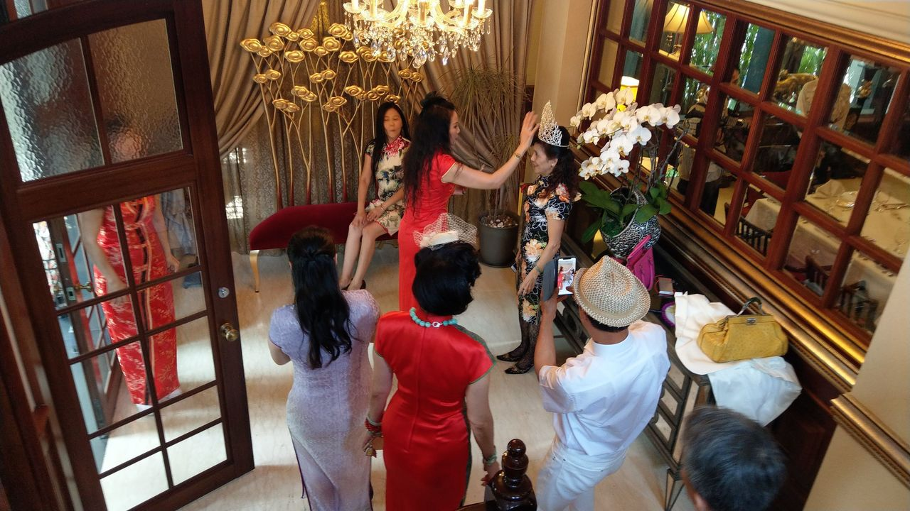 台中市中山招待所今天舉辦旗袍午茶活動,以橘世代為大宗。記者趙容萱/攝影