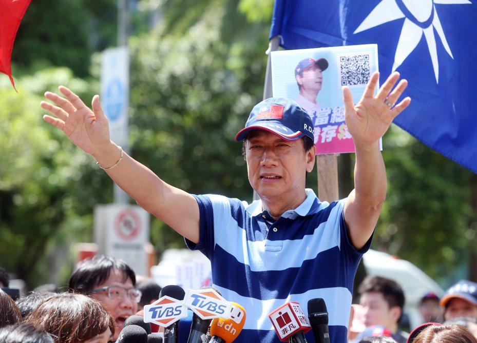 台北市長柯文哲組黨,「郭柯合」傳聞再起,郭台銘(圖)動向受關注。圖/聯合報系資料照片