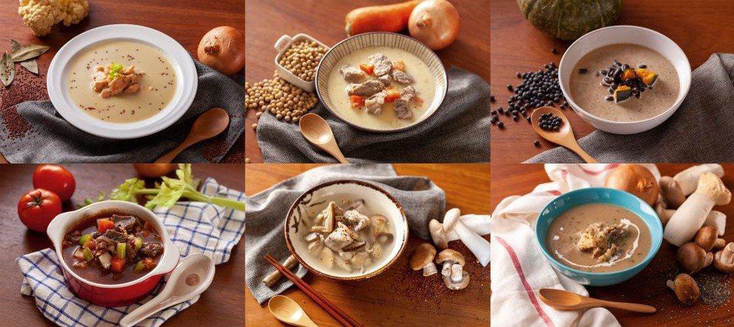 ▲「美味・健力湯」首波推出六種系列湯品: 鮭魚紅藜白花菜濃湯(左一上)、蕃茄蔬菜...