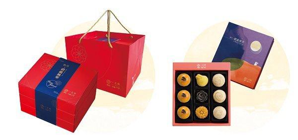 一之軒萩月禮盒(左)採高雅胭脂紅,吟月禮盒(右)為荷塘月色。 一之軒/提供