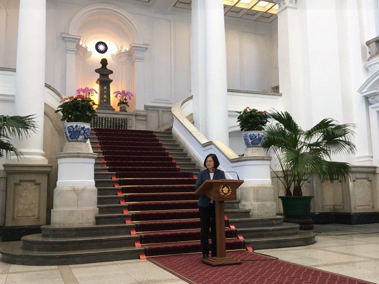 蔡英文總統今天發表談話回應中國大陸近期軍演。記者周佑政/攝影