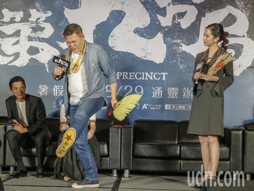 今天是鬼門開的日子,靈異片《第九分局》下午舉行上映記者會,邀請演員邱澤(左起)、...