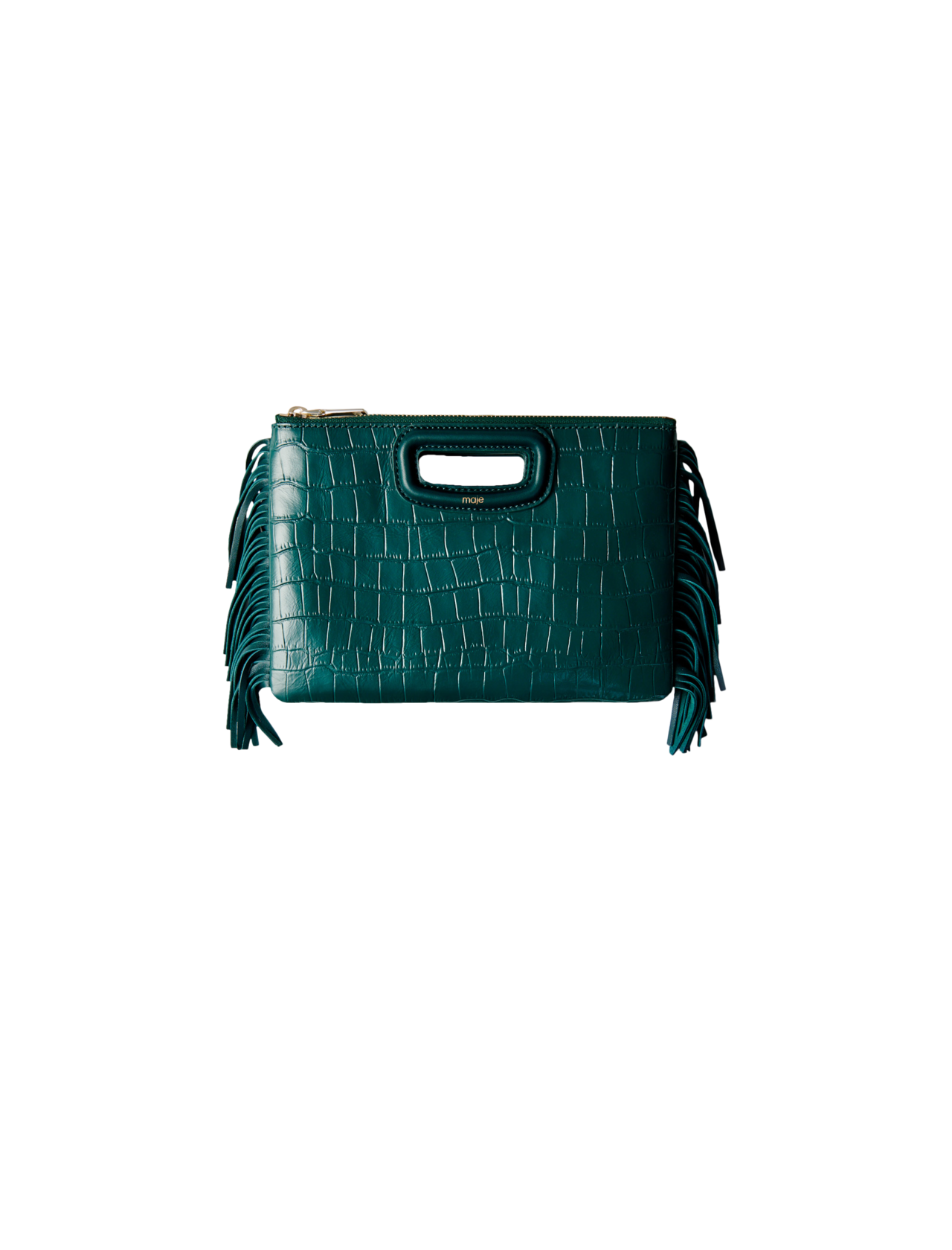 maje綠色鱷魚皮長型流蘇手拿包,售價12,750元。圖/maje提供