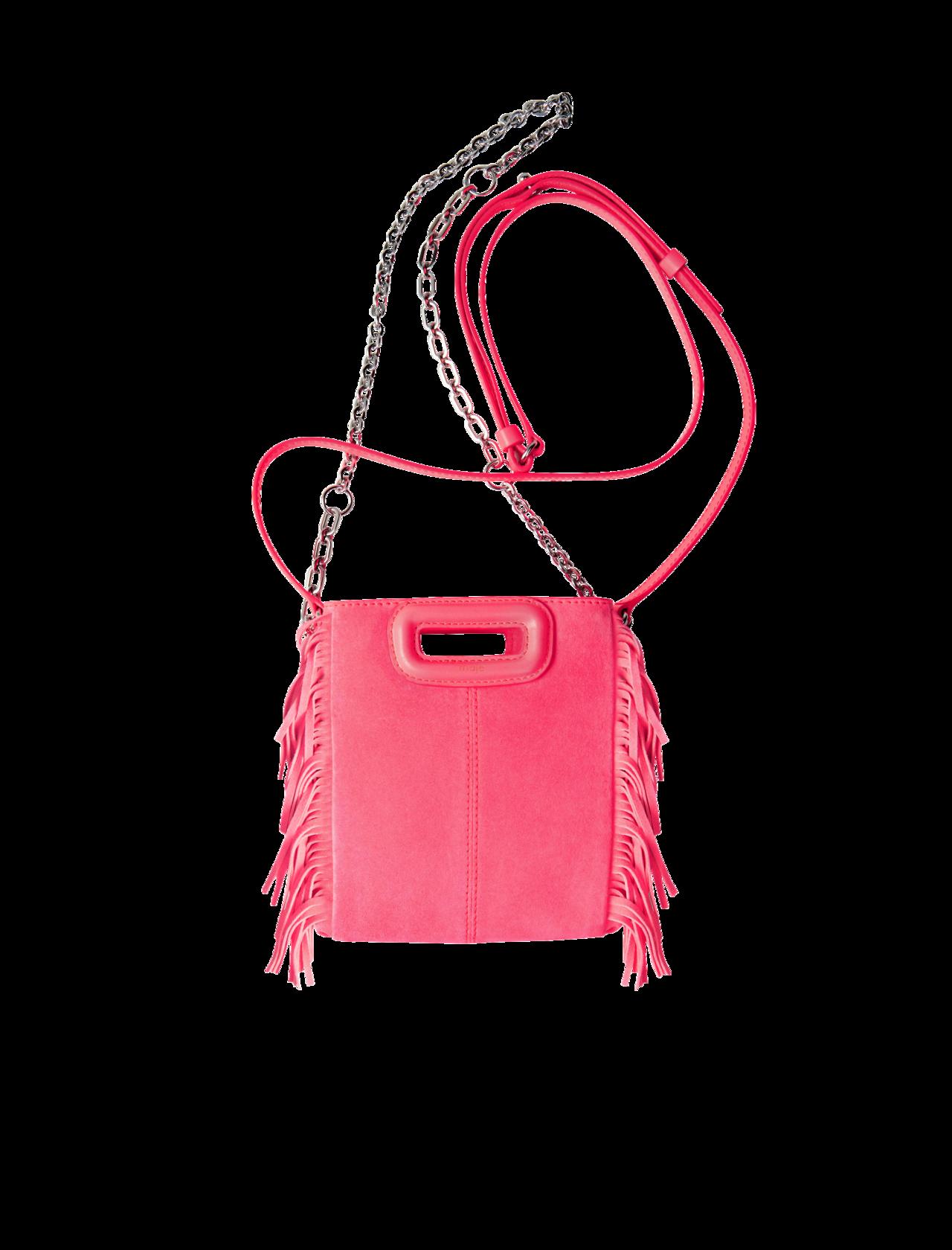 maje粉色皮革流蘇肩背包,價格洽店。圖/maje提供