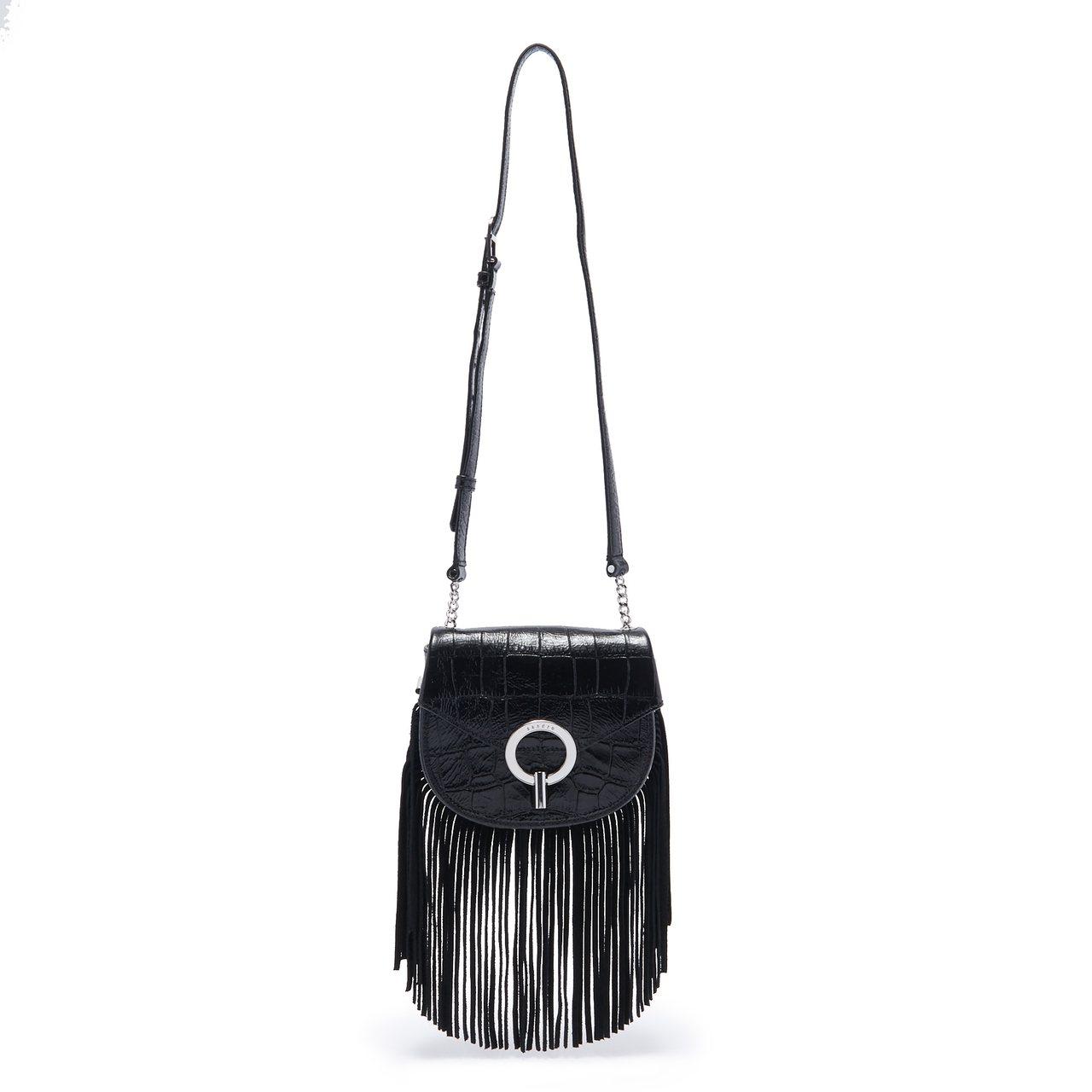 sandro流蘇黑色肩背包,售價12,290元。圖/sandro提供